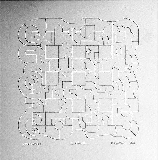'Kum-Kum-Text-Tile' The same drawing enlarged and created as a Digital Lino Block.  Printed as 'Blind Embossed', and again without colour.  The drawing is shown as a low-relief image on embossed on 300gsm paper.
