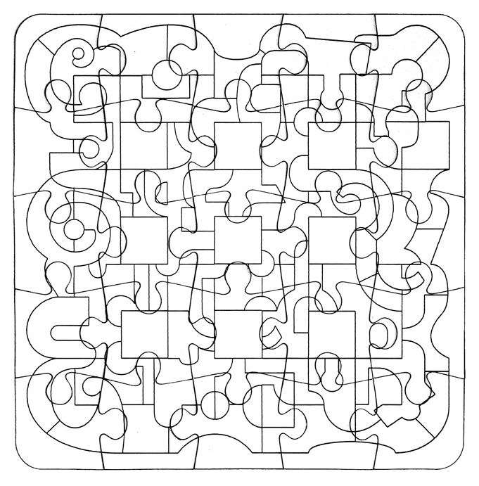 This study is laser-engraved onto a ready-made cardboard Jig-Saw Puzzle. The Order & Chaos idea is  very obvious and is is doubly  difficult as a colourless puzzle.  the same competition but with a deleted or developed grid format. The lines appear more lively and varied. I have adapted this study and made various compositions within the same structure but with different digital outcomes.