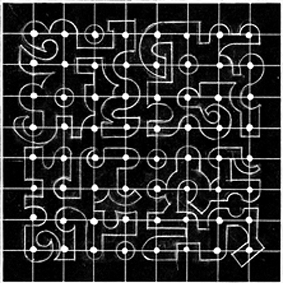 A drawing with shapes composed of fragments of Tamil alphabet letter-forms. Four principle shapes made up of 4 sections of the 4 different groups. They are located on the  grid and surround the White Dot Grid. Each small grid square has a shape or two. The large forms are closed like islands.  There are Hoops, Arcs and Lines and a distinct 'Inside' - 'Outside' feeling from the shape relationships.  This small study has been much used and developed in my work.